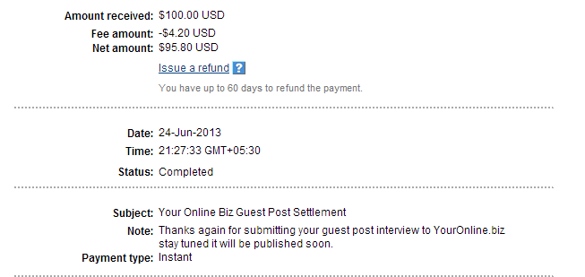 Transaction Details PayPal 120+ sites that pay upto $150 for guest posts,make money writing