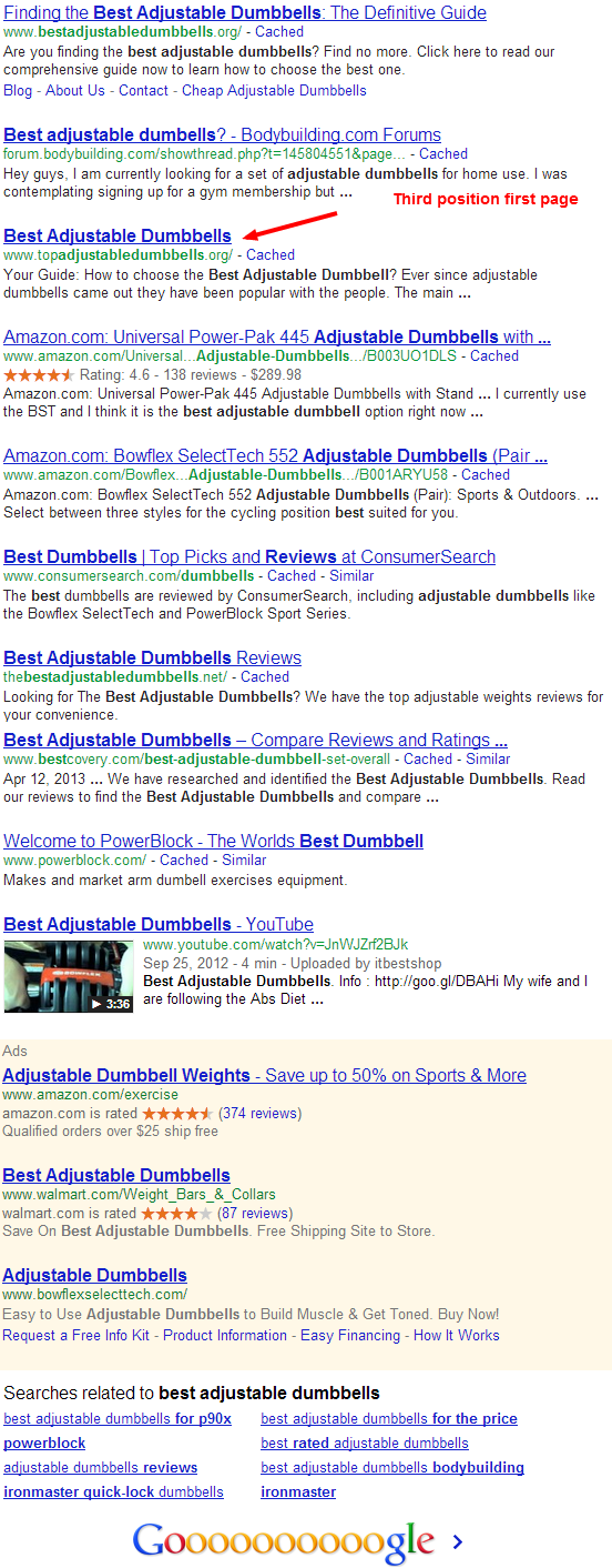 best adjustable dumbbells Google Search My niche site makes its first sale[Update: Second sale]