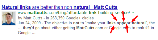 the links should not appear natural they should be matt cutts  Google social shitstorm : Birth Pangs edition